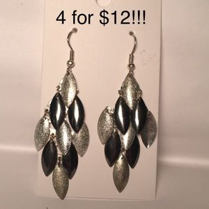 4 for $12: Charcoal Grey & Silver Earrings